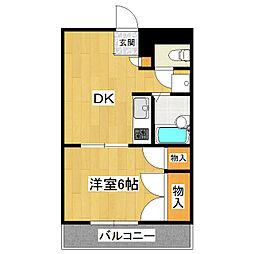 ビスタ大津野B棟[1階]の間取り