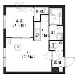 仮称) 二十四軒1-2 (B)棟 3階1LDKの間取り