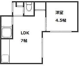 ローヤルハイツ本通南[4階]の間取り