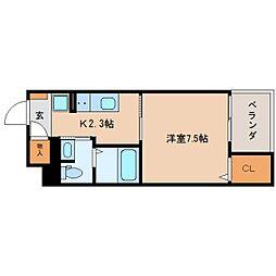 静岡県静岡市葵区上足洗の賃貸マンションの間取り