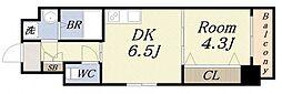 セレーノ大阪ウエストベイ 3階1DKの間取り