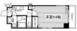 JR山陽本線 岡山駅 徒歩7分の賃貸マンション 2階1Kの間取り