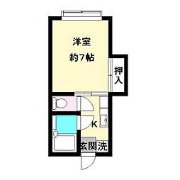 ア・ルエ東生田B[207号室]の間取り