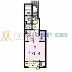 JR東北本線 安積永盛駅 徒歩30分の賃貸アパート 1階1Kの間取り