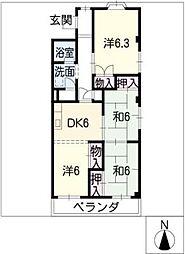第1マンダイマンション[2階]の間取り