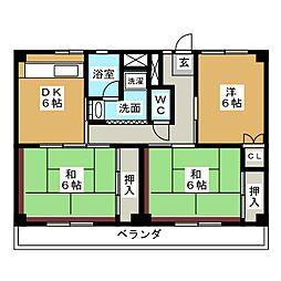 ビレッジハウス四郎丸2号棟[4階]の間取り