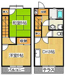 [テラスハウス] 千葉県船橋市東中山2丁目 の賃貸【千葉県 / 船橋市】の間取り