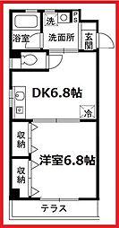 グランドール北上野 1階1DKの間取り