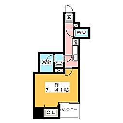 グランカーサ上野入谷 14階1Kの間取り