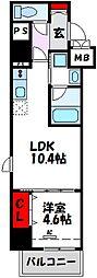 D-room gracious平尾 4階1LDKの間取り