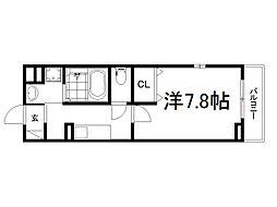 JR奈良線 新田駅 徒歩6分の賃貸アパート 3階1Kの間取り