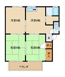 KハピネスハウスB棟[2階]の間取り