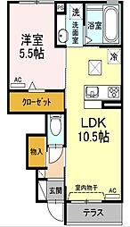 愛知県名古屋市千種区穂波町2丁目の賃貸アパートの間取り