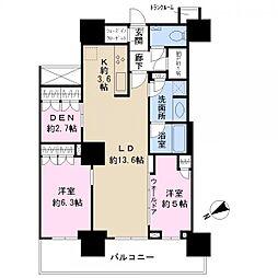 津田沼 ザ・タワー 43階2LDKの間取り