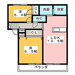 MAST TOWN城山 A・B[2階]の間取り