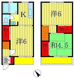 [テラスハウス] 千葉県松戸市西馬橋4丁目 の賃貸【/】の間取り