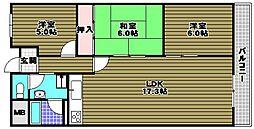 金剛グリーンハイツHA[6階]の間取り