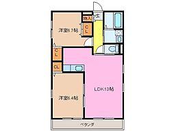 クラウドIII B棟[2階]の間取り
