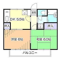 東京都東村山市恩多町4丁目の賃貸アパートの間取り