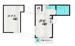 JR中央線 西国分寺駅 徒歩4分の賃貸アパート 2階ワンルームの間取り