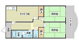 土井マンション[2-D号室]の間取り