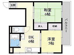 阪急千里線 吹田駅 徒歩6分の賃貸マンション 6階2DKの間取り