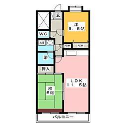 エクセル東戸塚 2階2LDKの間取り