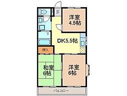 静岡県富士市平垣の賃貸アパートの間取り