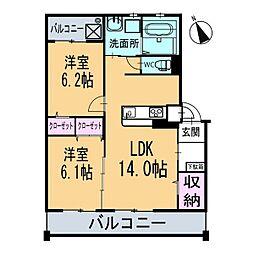新築ベルカーサH・S[202号室]の間取り