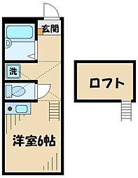 JR横浜線 矢部駅 徒歩10分の賃貸アパート 2階ワンルームの間取り