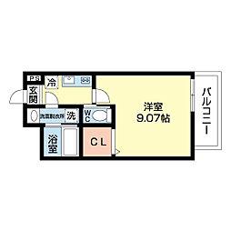 モダンアパートメント江坂町 7階1Kの間取り