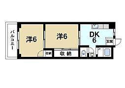 富雄サニーハイツ[3階]の間取り