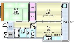 セントラルコート南桜塚[201号室]の間取り