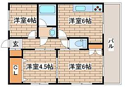 兵庫県神戸市灘区岩屋中町3丁目の賃貸マンションの間取り