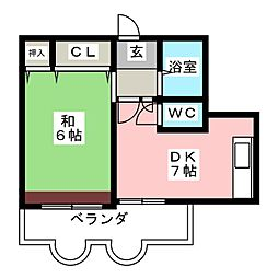 明和コーポ[6階]の間取り