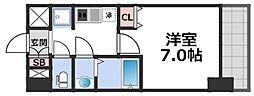 グランパシフィック新今里II 8階1Kの間取り