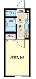 神奈川県相模原市南区大野台6の賃貸アパートの間取り