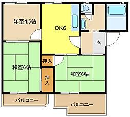兵庫県姫路市新在家4丁目の賃貸アパートの間取り