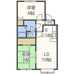 北海道札幌市東区北四十七条東15の賃貸アパートの間取り
