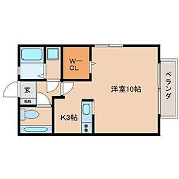 JR関西本線 王寺駅 バス7分 中山台2丁目下車 徒歩1分の賃貸アパート 2階1Kの間取り