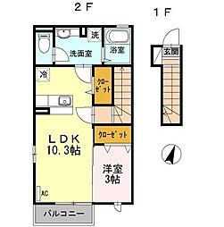 西武新宿線 下井草駅 徒歩6分の賃貸アパート 2階1LDKの間取り