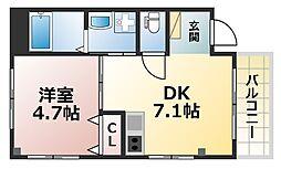 ERCity's nishinada 3階1LDKの間取り