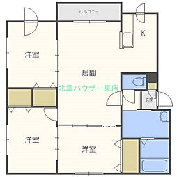 北海道札幌市東区北二十五条東18丁目の賃貸マンションの間取り