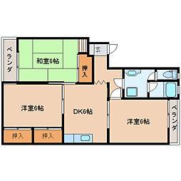 奈良県香芝市高の賃貸マンションの間取り
