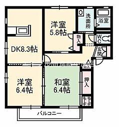 岡山県倉敷市石見町の賃貸アパートの間取り