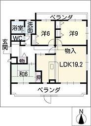 三渓ヒルズ D棟[1階]の間取り