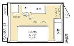 ドミトリームサシサカイ(学生専用家具家電食事付)[3階]の間取り