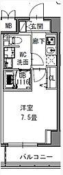 都営大江戸線 新御徒町駅 徒歩4分の賃貸マンション 2階1Kの間取り