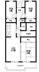 サンソレイユ松戸[4階]の間取り