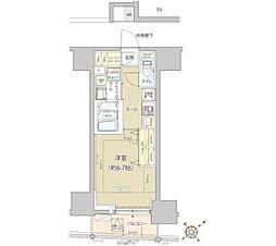 都営浅草線 高輪台駅 徒歩13分の賃貸マンション 10階1Kの間取り